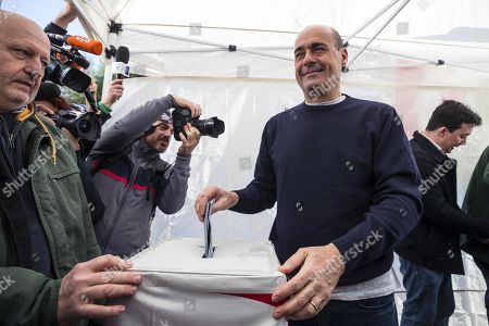 Candidate Nicola Zingaretti (C) casts his ballot in the primary elections for the national secreteriat of the Italian Democratic Party (Partito Democratico, PD), in Rome, Italy, 03 March 2019. PD politicians Maurizio Martina, who replaced Renzi following his resignation in 2018, Roberto Giachetti and Nicola Zingaretti are the main candidates for the Democratic Party's leadership election which was triggered by the party's general election defeat and Renzi's withdrawal in 2018.
