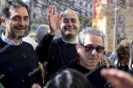 Candidate Nicola Zingaretti (C) waves to supporters while attending the primary elections for the national secreteriat of the Italian Democratic Party (Partito Democratico, PD), in Rome, Italy, 03 March 2019. PD politicians Maurizio Martina, who replaced Renzi following his resignation in 2018, Roberto Giachetti and Nicola Zingaretti are the main candidates for the Democratic Party's leadership election which was triggered by the party's general election defeat and Renzi's withdrawal in 2018.