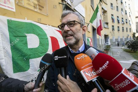 Candidate Roberto Giachetti talks with journalists after voting in the primary elections for the national secretariat of the Italian Democratic Party (Partito Democratico, PD), in Rome, Italy, 03 March 2019. PD politicians Maurizio Martina, who replaced Renzi following his resignation in 2018, Roberto Giachetti and Nicola Zingaretti are the main candidates for the Democratic Party's leadership election which was triggered by the party's general election defeat and Renzi's withdrawal in 2018.