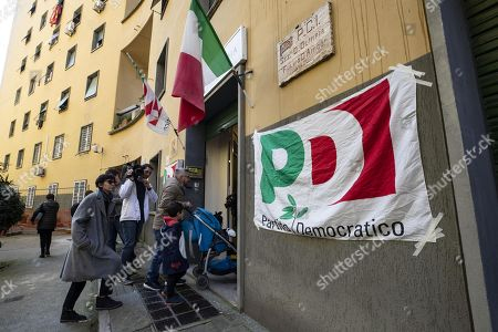 A 'Partito Democratico' (PD) flag marks a polling station for the primary elections for the national secretariat of the Italian Democratic Party (PD), in Rome, Italy, 03 March 2019. PD politicians Maurizio Martina, who replaced Renzi following his resignation in 2018, Roberto Giachetti and Nicola Zingaretti are the main candidates for the Democratic Party's leadership election which was triggered by the party's general election defeat and Renzi's withdrawal in 2018.