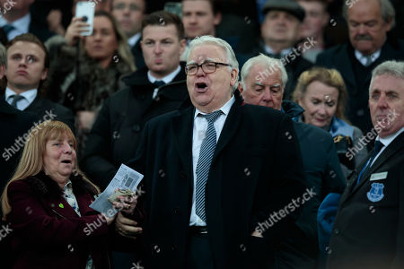 Everton chairman Bill Kenwright takes his seat in the stands before the game