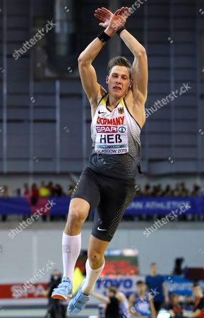 Max Hess of Germany makes an attempt in the men's triple jump final at the European Athletics Indoor Championships at the Emirates Arena in Glasgow, Scotland