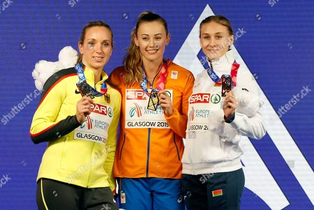 Stock Photo of Gold medalist Nadine Visser (C) of the Netherlands poses with silver medalist Cindy Roleder (L) of Germany and bronze medalist Elvira Herman of Belarus in the medal ceremony for the women's 60m hurdles final at the 35th European Athletics Indoor Championships, Glasgow, Britain, 03 March 2019.