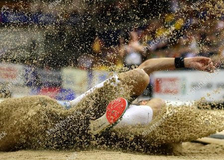 Max Hess of Germany competes in the men's triple jump final at the 35th European Athletics Indoor Championships, Glasgow, Britain, 03 March 2019.