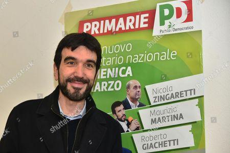 Stock Photo of Candidate Maurizio Martina arrives to cast his vote in the primary elections for the national secreteriat of the Italian Democratic Party (Partito Democratico, PD), at a polling station in Bergamo, Italy, 03 March 2019. PD politicians Maurizio Martina, who replaced Renzi following his resignation in 2018, Roberto Giachetti and Nicola Zingaretti are the main candidates for the Democratic Party's leadership election which was triggered by the party's general election defeat and Renzi's withdrawal in 2018.