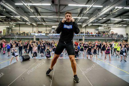 Dutch kickboxer Rico Verhoeven during a clinic for cildren in Capelle aan den IJssel, The Netherlands, 03 March 2019.