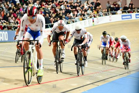 Roger Kluge and Theo Reinhardt of Germany ride the Madison Final.