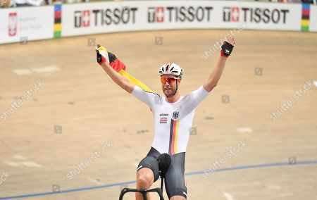 Roger Kluge and  of Germany celebrates winning the Madison Final.