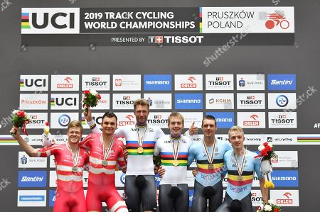 Casper van Folsach and Lasse Norman Hansen of Denmark, Roger Kluge and Theo Reinhardt of Germany wear the Rainbow Jersey and Kenny de Ketele and Robbe Ghys of Belgium make up the Madison Podium.