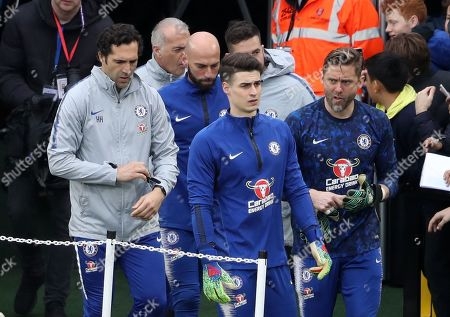 Stock Photo of Chelsea Goalkeepers Kepa Arrizabalaga, Willy Caballero  and Robert Green come out to warm up