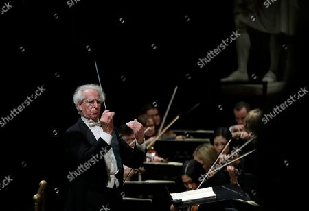 Stock Photo of Benjamin Zander conducts the Boston Philharmonic Orchestra at the Sanders Theatre in Cambridge, Mass. The internationally acclaimed conductor, who approaches his 80th birthday on March 9, has spent half his life leading the Boston Philharmonic Orchestra, which he founded in 1979