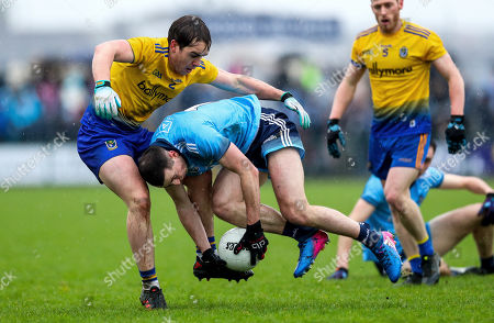 Roscommon vs Dublin. Dublin's Colm Basquel with David Murray of Roscommon