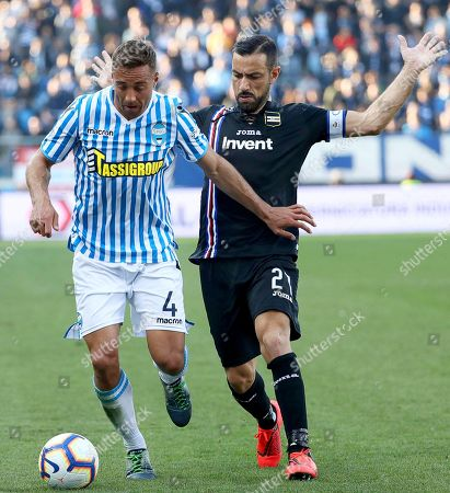 Ferrara's Thiago Cionek (L) in action against Sampdoria's Fabio Quagliarella (R) during the Italian Serie A soccer match between SPAL Ferrara and UC Sampdoria in Ferrara, Italy, 03 March 2019.