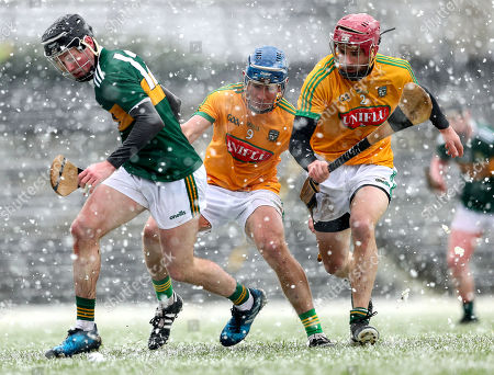 Kerry vs Meath. Kerry's Shane Conway with Stephen Morris and Ger Murphy of Meath