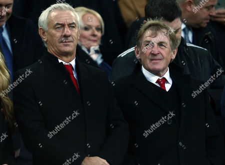 Former Liverpool players Ian Rush and Sir Kenny Dalglish looks on from the stand