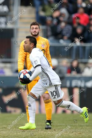 Stock Picture of Marco Fabian, Alex Bono. Philadelphia Union forward Marco Fabian (10) reacts after scoring on Toronto FC goalkeeper Alex Bono (25) in the second half during an MLS soccer match in Chester, Pa., . Toronto defeated Philadelphia 3-1