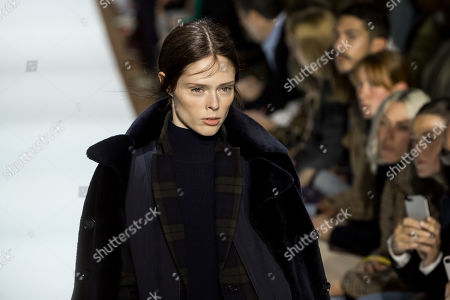 Canadian model Coco Rocha presents a creation from the Fall/Winter 2019/20 Women collection by Swiss designer Albert Kriemler for Akris fashion house during the Paris Fashion Week, in Paris, France, 03 March 2019. The presentation of the Women's collections runs from 25 February to 05 March.