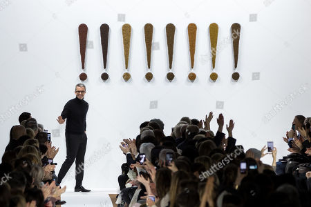 Swiss designer Albert Kriemler appears on the runway after the presentation of his Fall/Winter 2019/20 Women collection for Akris fashion house during the Paris Fashion Week, in Paris, France, 03 March 2019. The presentation of the Women's collections runs from 25 February to 05 March.