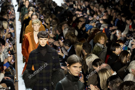 Models present creations from the Fall/Winter 2019/20 Women collection by Swiss designer Albert Kriemler for Akris fashion house during the Paris Fashion Week, in Paris, France, 03 March 2019. The presentation of the Women's collections runs from 25 February to 05 March.