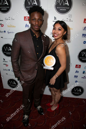 Gregory Haney and Alexzandra Sarmiento accept the award for Best Choreography on behalf of Andy Blankenbuehler