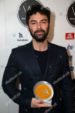 Aidan Turner accepts the award for Best Actor in a Play