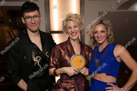 Tom Scutt, Maria Aberg and Lizzie Gee accept the award for Best Musical Revival