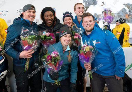 Stock Picture of (L to R) Greg West, Jessica Davis, Brittany Reinbolt, Savannah Graybill, Kristopher Horn and Geoffrey Gadbois of the USA pose for a team photo after finishing third in the Team event at the IBSF Bobsleigh & Skeleton World Championships in Whistler, Canada, 03 March 2019.