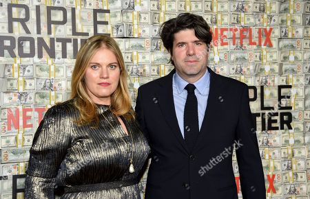 """Mary Cameron Goodyear, J.C. Chandor. Director and co-writer J.C. Chandor, right, and wife Mary Cameron Goodyear attend the world premiere of """"Triple Frontier"""" at Jazz at Lincoln Center, in New York"""