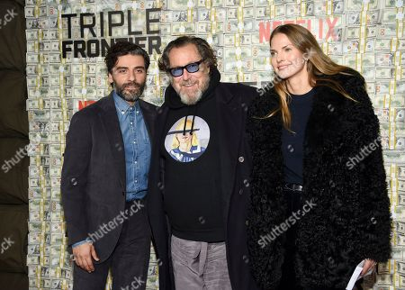 "Oscar Isaac, Julian Schnabel, Louise Kugelberg. Oscar Isaac, left, Julian Schnabel and Louise Kugelberg attend the world premiere of ""Triple Frontier"" at Jazz at Lincoln Center, in New York"
