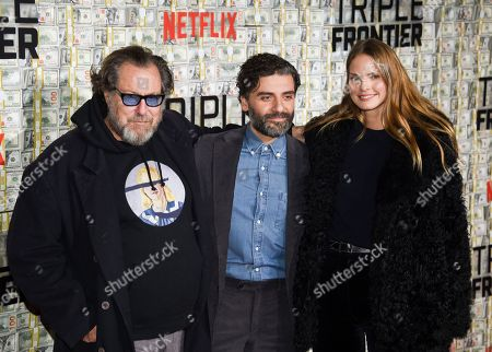 "Julian Schnabel, Oscar Isaac, Louise Kugelberg. Julian Schnabel, left, Oscar Isaac and Louise Kugelberg attend the world premiere of ""Triple Frontier"" at Jazz at Lincoln Center, in New York"