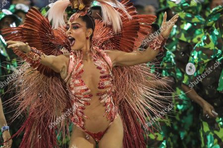 The queen of the bateria, Brazilian actress Juliana Paes, parades for the samba school of the Grupo Especial Academicos do Grande Rio during the Carnival celebration, at the Marques de Sapucai sambadrome, in Rio de Janeiro, Brazil, early 04 March 2019. The samba schools of the Rio de Janeiro Special Groups began their parades on 03 March at the sambadrome, considered the main attraction of the carnival in Brazil.