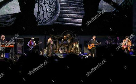 Mick Fleetwood, John McVie, Christine McVie, Stevie Nicks, Mike Campbell, Neil Finn. Mick Fleetwood, John McVie, Christine McVie, Stevie Nicks, Mike Campbell and Neil Finn with Fleetwood Mac performs at State Farm Arena, in Atlanta