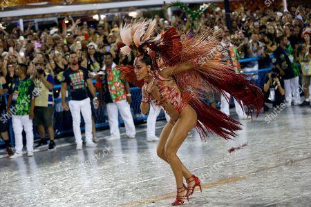 Drum queen Juliana Paes, from Academicos de Grande Rio samba school, performs during Carnival celebrations at the Sambadrome in Rio de Janeiro, Brazil