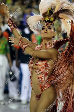 Drum queen Juliana Paes from the Academicos do Grande Rio samba school performs during Carnival celebrations at the Sambadrome in Rio de Janeiro, Brazil