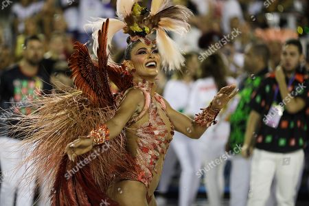 Drum queen Juliana Paes, from the Academicos do Grande Rio samba school, performs during Carnival celebrations at the Sambadrome in Rio de Janeiro, Brazil