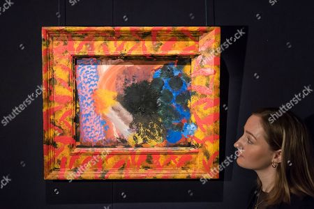 A staff member views ''Counting The Days'', 1979-82, by Howard Hodgkin, (Est. £300,000 - 500,000).