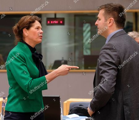 Stock Image of Slovenia's Minister for Energy Alenka Bratusek (L) and Croatia's Minister for Energy Tomislav Coric (R) attend the European Energy Ministers Council in Brussels, Belgium, 04 March 2019.
