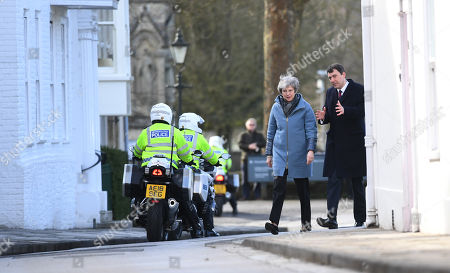 Britain's Prime Minister Theresa May (2-R) is accompanied by Conservative MP John Glen (R) as they walk to meet residents during a visit to Salisbury, Britain, 04 March 2019. May visited the historic city of Salisbury one year after the Novichok attack on former Russian spy Sergei Skripal and his daughter Yulia. Following initial investigation Prime Minister May told the House of Commons in mid-March 2018 that the nerve agent was of Russian origin and it was most likely that Russia being behind the attack.