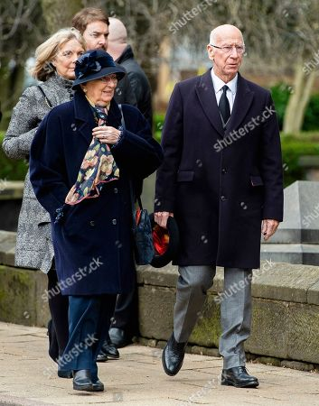 Sir Bobby Charlton (R) and his wife Norma (front L) attend the funeral of former England goalkeeper Gordon Banks at the Stoke Minster in Stoke on Trent, Britain, 04 March 2019. Gordon Banks won 73 caps for England and won the World Cup in 1966. He died on 12 February 2019.