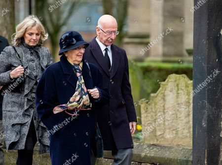 Sir Bobby Charlton (R) and his wife Norma (C) attend the funeral of former England goalkeeper Gordon Banks at the Stoke Minster in Stoke on Trent, Britain, 04 March 2019. Gordon Banks won 73 caps for England and won the World Cup in 1966. He died on 12 February 2019.
