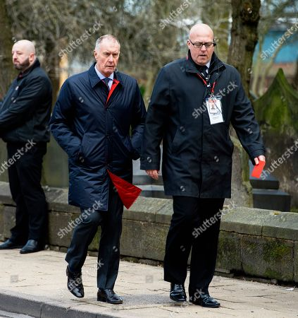 Sir Geoff Hurst (C) attends the funeral of former England goalkeeper Gordon Banks at the Stoke Minster in Stoke on Trent, Britain, 04 March 2019. Gordon Banks won 73 caps for England and won the World Cup in 1966. He died on 12 February 2019.