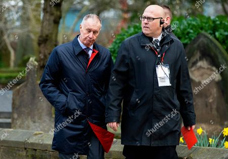 Sir Geoff Hurst (L) attends the funeral of former England goalkeeper Gordon Banks at the Stoke Minster in Stoke on Trent, Britain, 04 March 2019. Gordon Banks won 73 caps for England and won the World Cup in 1966. He died on 12 February 2019.