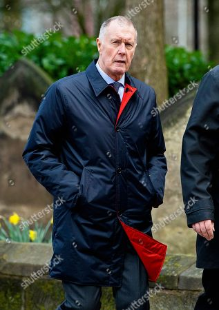 Sir Geoff Hurst attends the funeral of former England goalkeeper Gordon Banks at the Stoke Minster in Stoke on Trent, Britain, 04 March 2019. Gordon Banks won 73 caps for England and won the World Cup in 1966. He died on 12 February 2019.