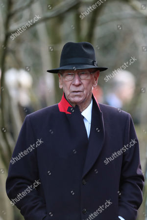 Sir Bobby Charlton following the funeral of Gordon Banks at Stoke Minster