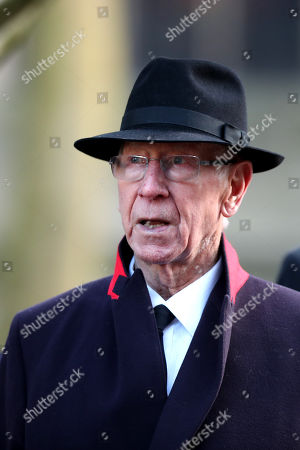 Stock Image of Sir Bobby Charlton following the funeral of Gordon Banks at Stoke Minster