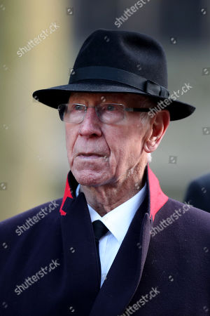 Sir Bobby Charlton following the funeral service of Gordon Banks at Stoke Minster