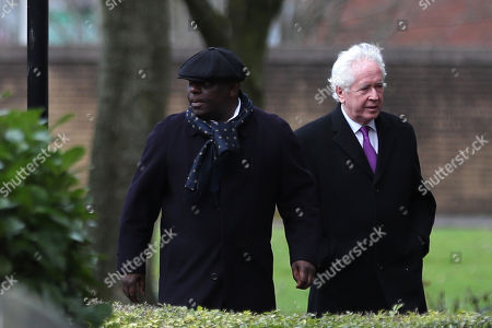 Garth Crooks makes his way into Stoke Minster prior to the funeral service of Gordon Banks