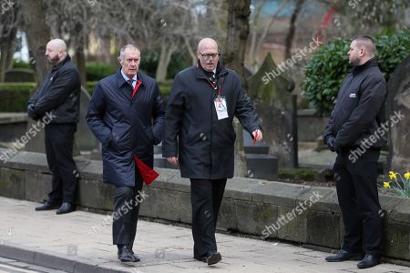 Sir Geoff Hurst makes his way into Stoke Minster prior to the funeral service of Gordon Banks