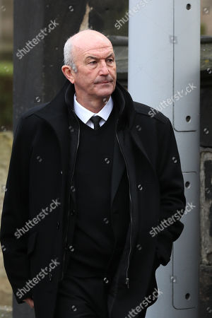 Tony Pulis makes his way into Stoke Minster prior to the funeral service of Gordon Banks