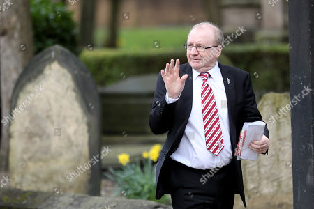 Terry Conroy makes his way into Stoke Minster prior to the funeral service of Gordon Banks